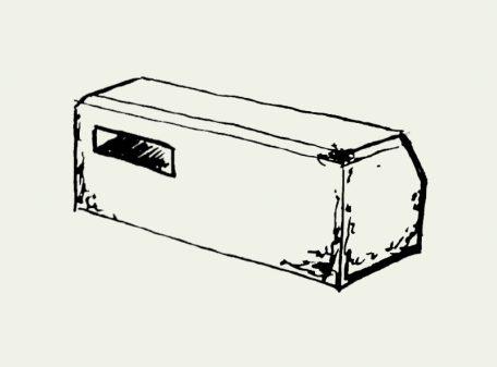 Zeichnung Mauerseglernistkasten zum Einbau an Mauern – Artikel 416