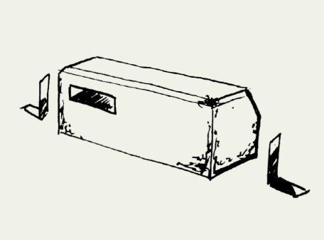 Zeichnung Mauerseglernistkasten mit Montagewinkel – Artikel 418