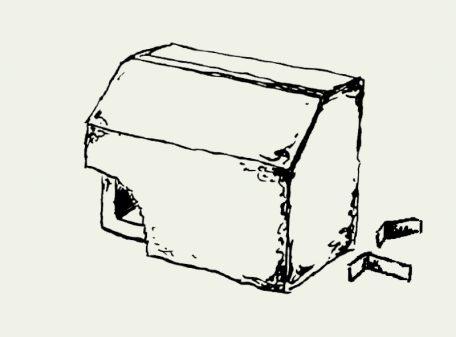 Zeichnung Nischenbrüterkasten mit Montagewinkeln – Artikel 326
